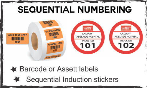 Safety construction labels sequential numbering labels water bottle labelling barcode labels decals specials on label printing central coast